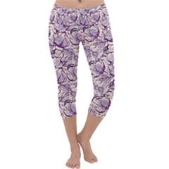 Vegetable Cabbage Purple Flower Capri Yoga Leggings by Mariart