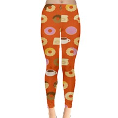 Coffee Donut Cakes Leggings  by Mariart
