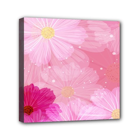 Cosmos Flower Floral Sunflower Star Pink Frame Mini Canvas 6  X 6  by Mariart
