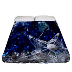 Christmas Silver Blue Star Ball Happy Kids Fitted Sheet (california King Size) by Mariart