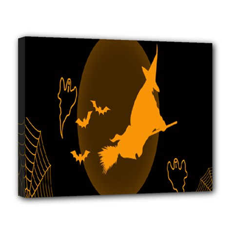 Day Hallowiin Ghost Bat Cobwebs Full Moon Spider Canvas 14  X 11  by Mariart