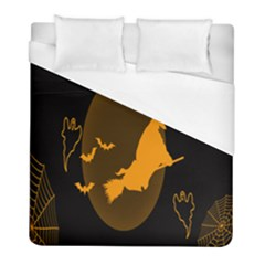 Day Hallowiin Ghost Bat Cobwebs Full Moon Spider Duvet Cover (full/ Double Size) by Mariart