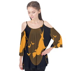 Day Hallowiin Ghost Bat Cobwebs Full Moon Spider Flutter Tees by Mariart