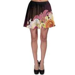Flower Back Leaf Polka Dots Black Pink Skater Skirt by Mariart