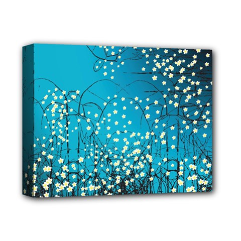 Flower Back Leaf River Blue Star Deluxe Canvas 14  X 11  by Mariart