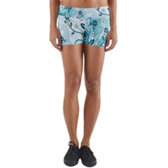 Flower Blue River Star Sunflower Yoga Shorts by Mariart