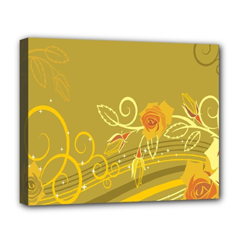 Flower Floral Yellow Sunflower Star Leaf Line Gold Deluxe Canvas 20  X 16   by Mariart