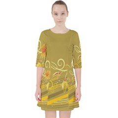 Flower Floral Yellow Sunflower Star Leaf Line Gold Pocket Dress by Mariart