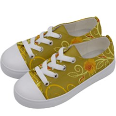 Flower Floral Yellow Sunflower Star Leaf Line Gold Kids  Low Top Canvas Sneakers by Mariart