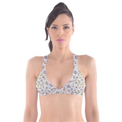 Flower Rose Sunflower Gray Star Plunge Bikini Top by Mariart