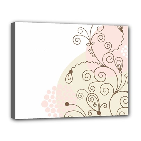 Flower Simple Pink Canvas 14  X 11  by Mariart