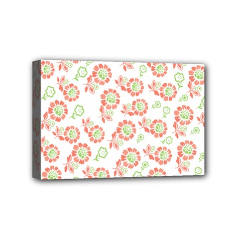Flower Rose Red Green Sunflower Star Mini Canvas 6  X 4  by Mariart