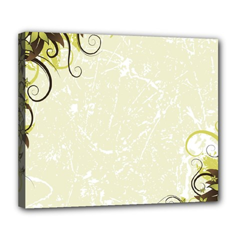 Flower Star Floral Green Camuflage Leaf Frame Deluxe Canvas 24  X 20   by Mariart