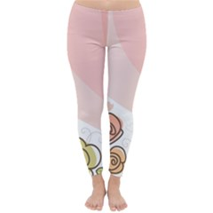 Flower Sunflower Wave Waves Pink Classic Winter Leggings by Mariart