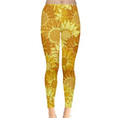 Flower Sunflower Floral Beauty Sexy Leggings  by Mariart