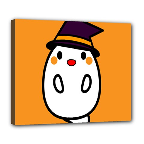 Halloween Ghost Orange Deluxe Canvas 24  X 20   by Mariart