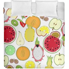 Mango Fruit Pieces Watermelon Dragon Passion Fruit Apple Strawberry Pineapple Melon Duvet Cover Double Side (king Size) by Mariart