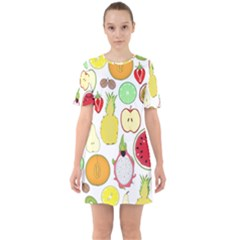 Mango Fruit Pieces Watermelon Dragon Passion Fruit Apple Strawberry Pineapple Melon Sixties Short Sleeve Mini Dress by Mariart