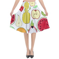 Mango Fruit Pieces Watermelon Dragon Passion Fruit Apple Strawberry Pineapple Melon Flared Midi Skirt by Mariart