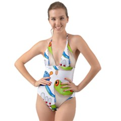 Tree Frog Bowler Halter Cut Out One Piece Swimsuit