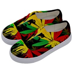 Marijuana Cannabis Rainbow Love Green Yellow Red Black Kids  Classic Low Top Sneakers by Mariart
