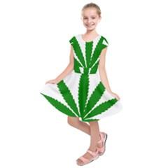 Marijuana Weed Drugs Neon Cannabis Green Leaf Sign Kids  Short Sleeve Dress by Mariart