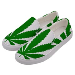 Marijuana Weed Drugs Neon Cannabis Green Leaf Sign Men s Canvas Slip Ons by Mariart