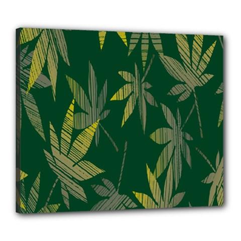 Marijuana Cannabis Rainbow Love Green Yellow Leaf Canvas 24  X 20  by Mariart