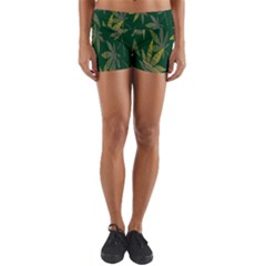 Marijuana Cannabis Rainbow Love Green Yellow Leaf Yoga Shorts by Mariart