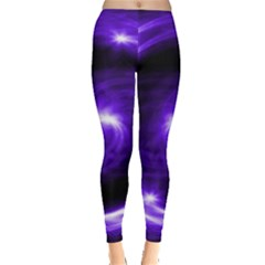 Purple Black Star Neon Light Space Galaxy Leggings  by Mariart