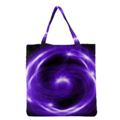 Purple Black Star Neon Light Space Galaxy Grocery Tote Bag by Mariart