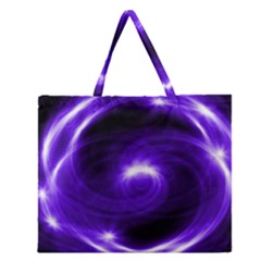 Purple Black Star Neon Light Space Galaxy Zipper Large Tote Bag by Mariart