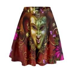 Wonderful Venetian Mask With Floral Elements High Waist Skirt by FantasyWorld7