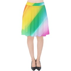 Red Yellow White Pink Green Blue Rainbow Color Mix Velvet High Waist Skirt by Mariart