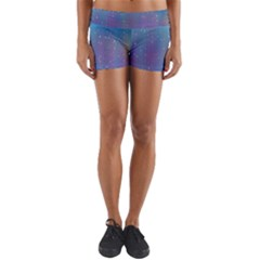 Rain Star Planet Galaxy Blue Sky Purple Blue Yoga Shorts by Mariart