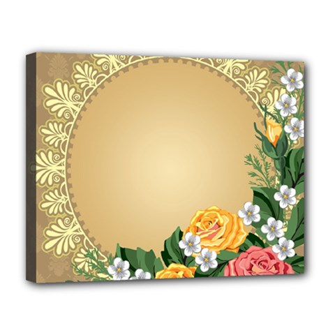 Rose Sunflower Star Floral Flower Frame Green Leaf Canvas 14  X 11  by Mariart