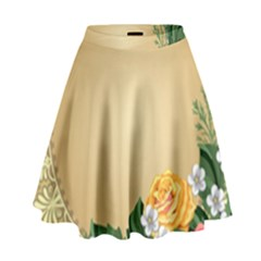 Rose Sunflower Star Floral Flower Frame Green Leaf High Waist Skirt by Mariart