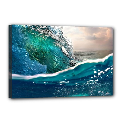 Sea Wave Waves Beach Water Blue Sky Canvas 18  X 12  by Mariart