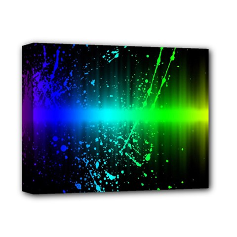 Space Galaxy Green Blue Black Spot Light Neon Rainbow Deluxe Canvas 14  X 11  by Mariart