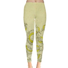 Sunflower Fly Flower Floral Leggings  by Mariart