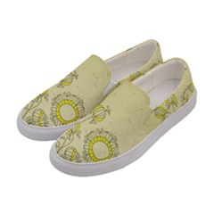 Sunflower Fly Flower Floral Women s Canvas Slip Ons by Mariart