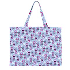 Pattern Kitty Headphones  Zipper Large Tote Bag