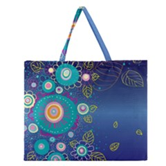 Flower Blue Floral Sunflower Star Polka Dots Sexy Zipper Large Tote Bag