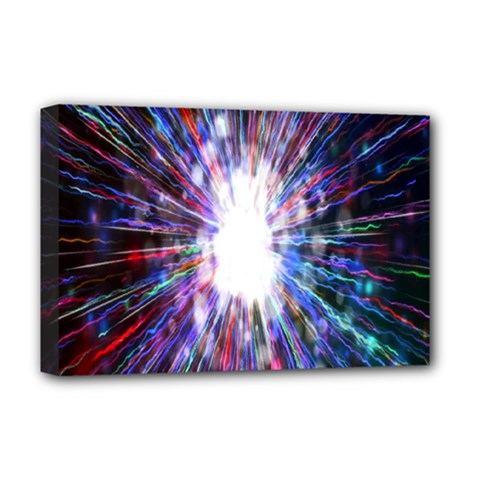 Seamless Animation Of Abstract Colorful Laser Light And Fireworks Rainbow Deluxe Canvas 18  X 12   by Mariart