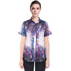 Seamless Animation Of Abstract Colorful Laser Light And Fireworks Rainbow Women s Short Sleeve Shirt