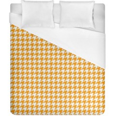 Friendly Houndstooth Pattern, Orange Duvet Cover (california King Size) by MoreColorsinLife