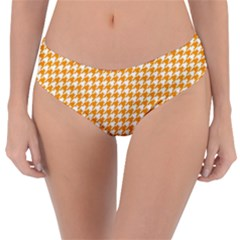 Friendly Houndstooth Pattern, Orange Reversible Classic Bikini Bottoms by MoreColorsinLife