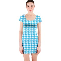 Friendly Houndstooth Pattern,aqua Short Sleeve Bodycon Dress by MoreColorsinLife
