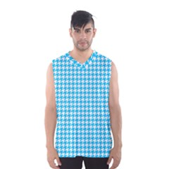 Friendly Houndstooth Pattern,aqua Men s Basketball Tank Top by MoreColorsinLife