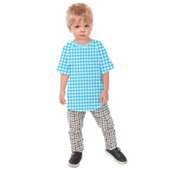 Friendly Houndstooth Pattern,aqua Kids Raglan Tee by MoreColorsinLife